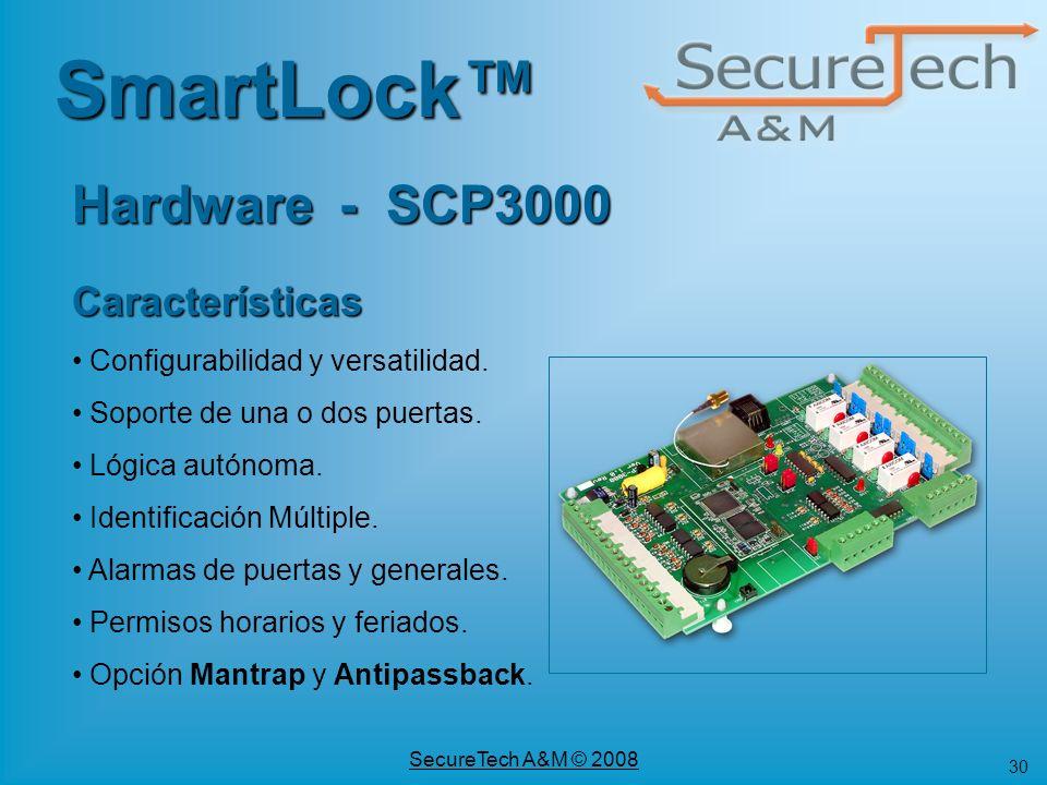 SmartLock™ Hardware - SCP3000 Características