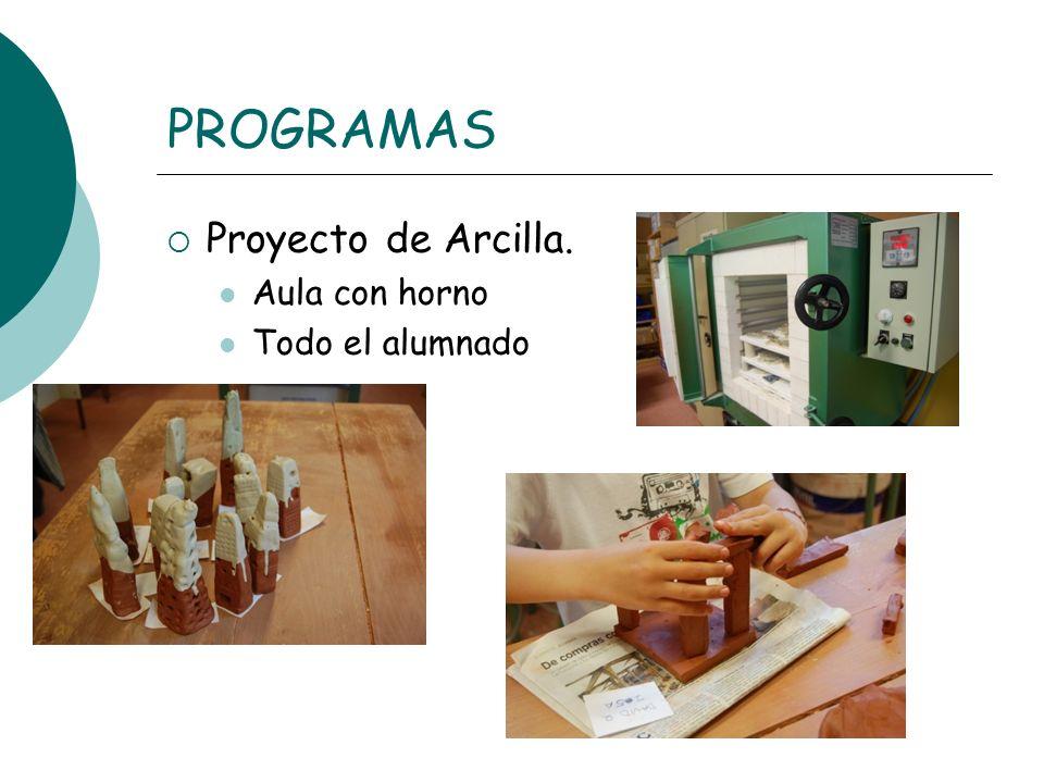 PROGRAMAS Proyecto de Arcilla. Aula con horno Todo el alumnado