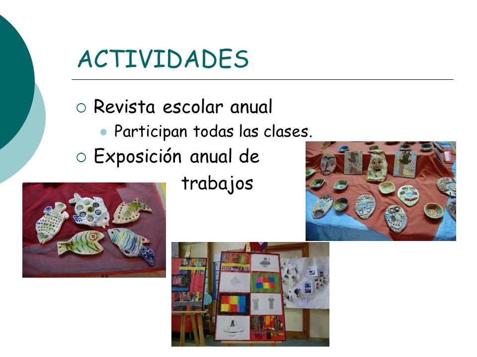 ACTIVIDADES Revista escolar anual Exposición anual de trabajos