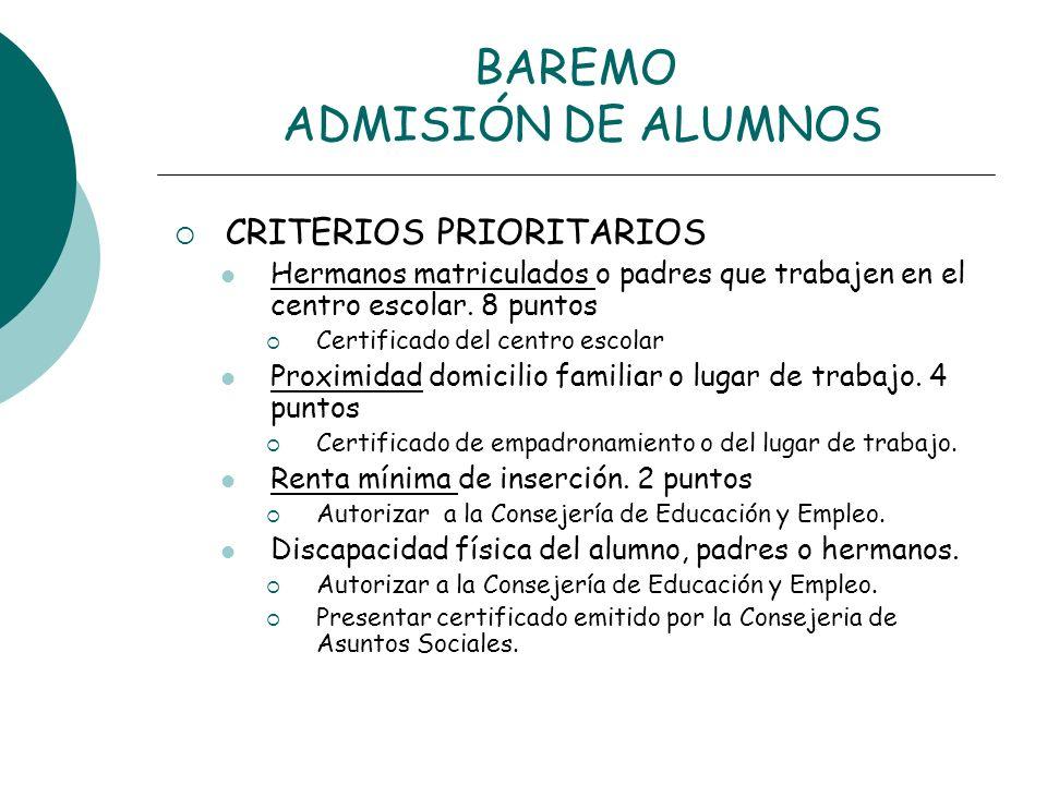 BAREMO ADMISIÓN DE ALUMNOS