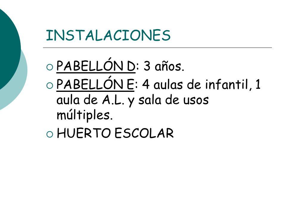 INSTALACIONES PABELLÓN D: 3 años.