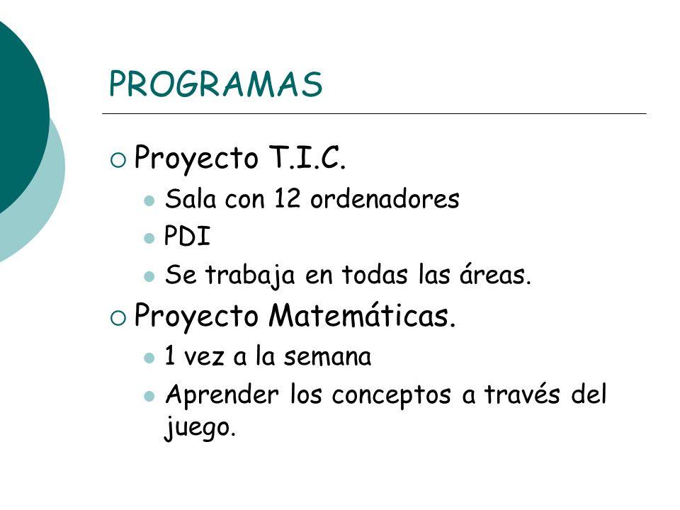 PROGRAMAS Proyecto T.I.C. Proyecto Matemáticas.