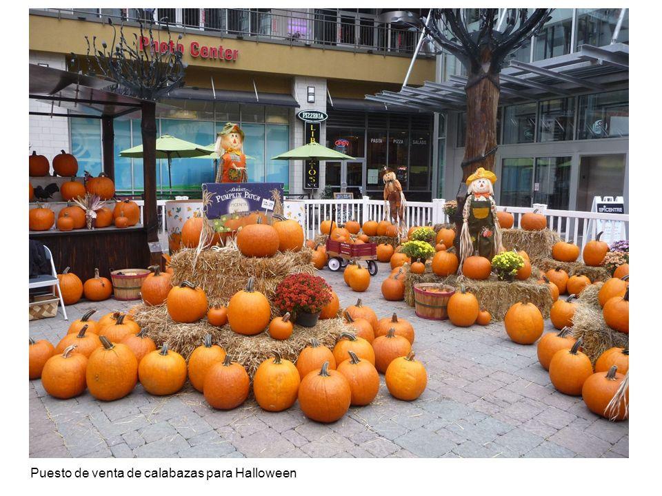 Puesto de venta de calabazas para Halloween