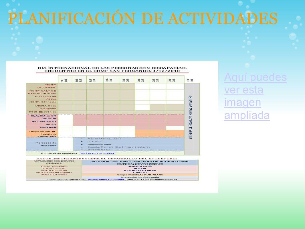 PLANIFICACIÓN DE ACTIVIDADES