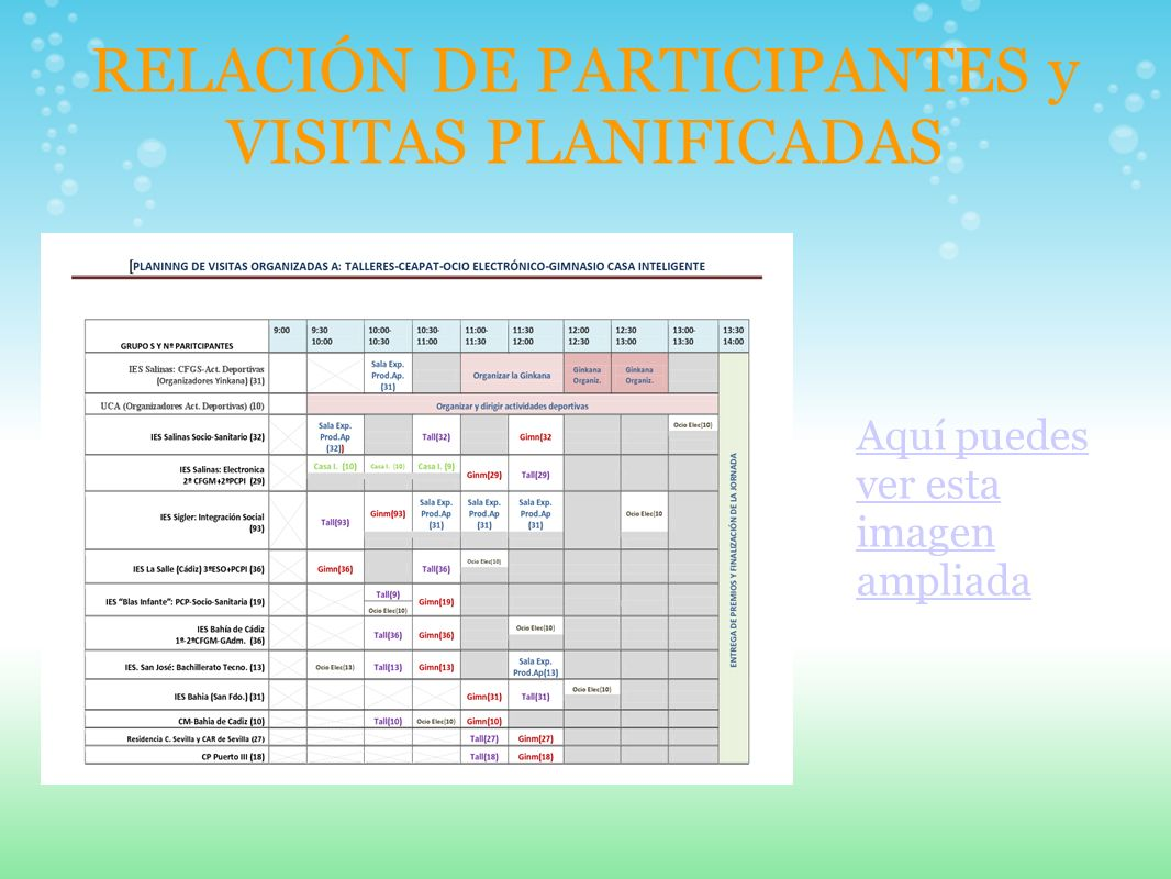 RELACIÓN DE PARTICIPANTES y VISITAS PLANIFICADAS