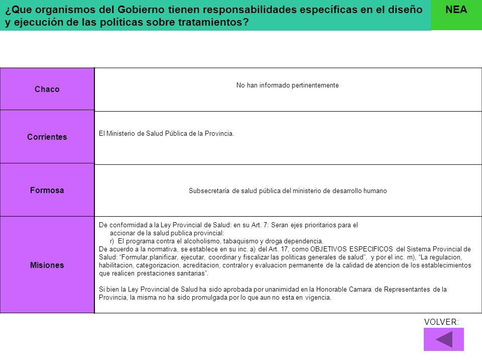 ¿Que organismos del Gobierno tienen responsabilidades específicas en el diseño y ejecución de las políticas sobre tratamientos