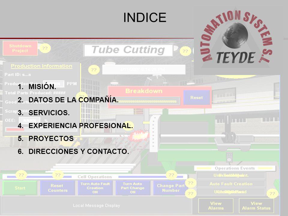 INDICE MISIÓN. DATOS DE LA COMPAÑÍA. SERVICIOS.