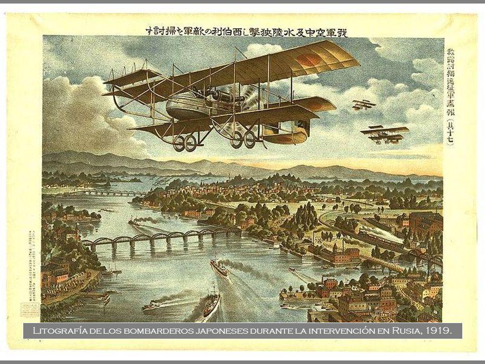 Litografía de los bombarderos japoneses durante la intervención en Rusia, 1919.