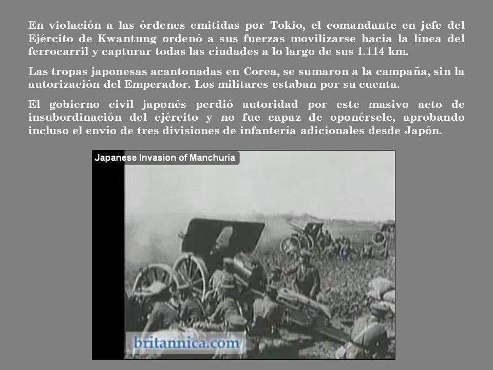En violación a las órdenes emitidas por Tokio, el comandante en jefe del Ejército de Kwantung ordenó a sus fuerzas movilizarse hacia la línea del ferrocarril y capturar todas las ciudades a lo largo de sus 1.114 km.