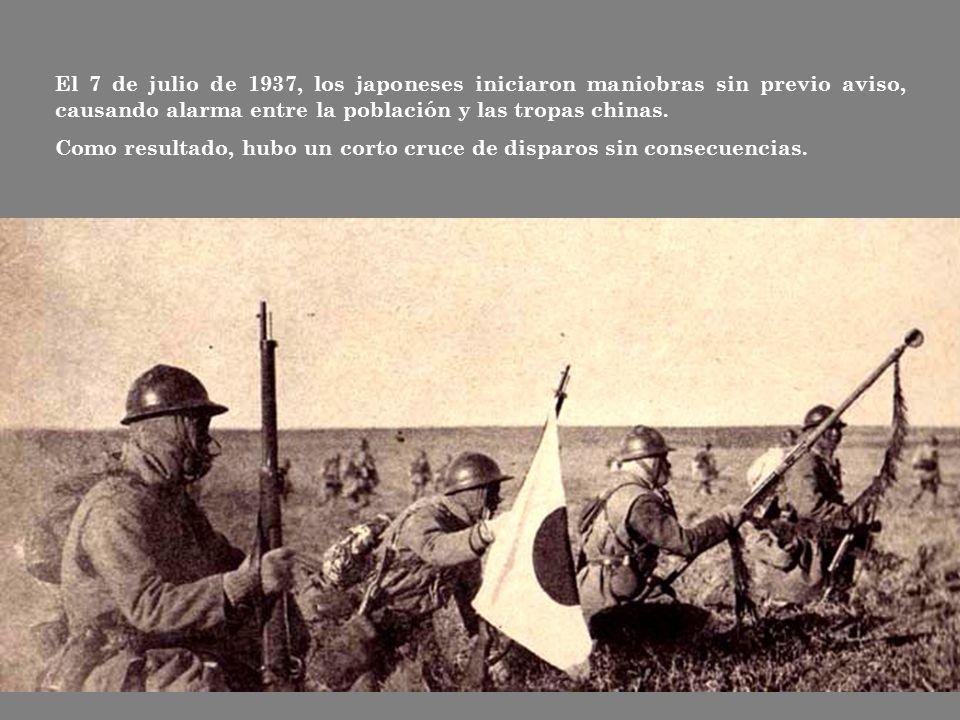 El 7 de julio de 1937, los japoneses iniciaron maniobras sin previo aviso, causando alarma entre la población y las tropas chinas.