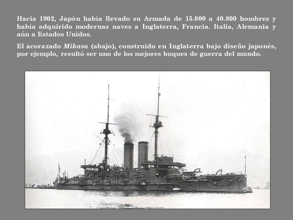 Hacia 1902, Japón había llevado su Armada de 15. 000 a 40