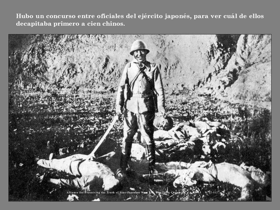 Hubo un concurso entre oficiales del ejército japonés, para ver cuál de ellos decapitaba primero a cien chinos.