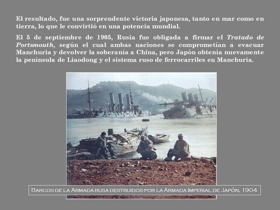 El resultado, fue una sorprendente victoria japonesa, tanto en mar como en tierra, lo que le convirtió en una potencia mundial.