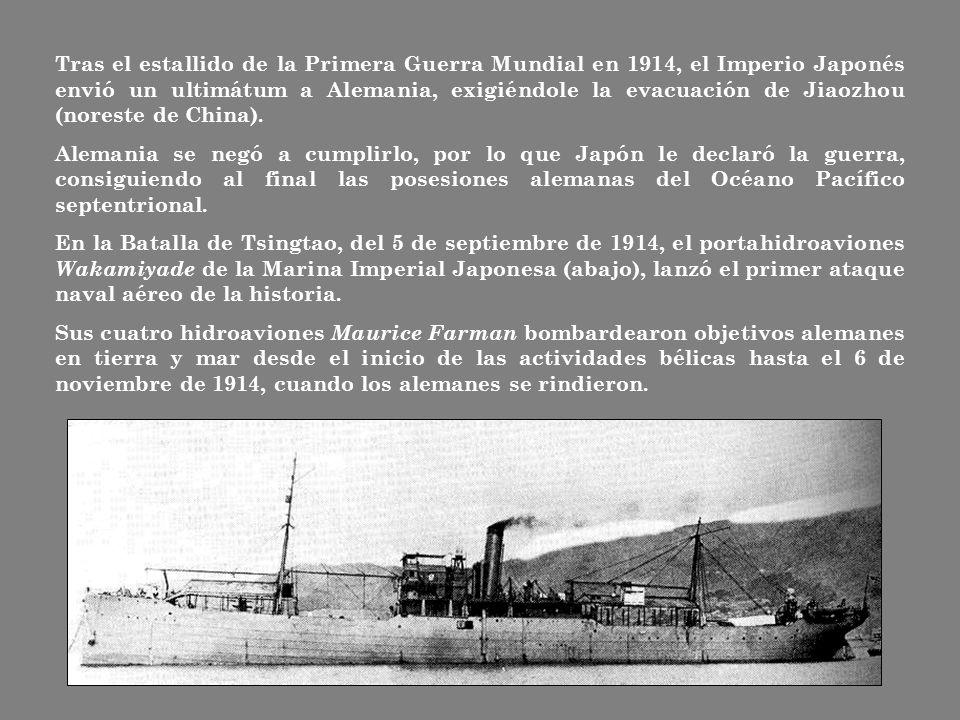 Tras el estallido de la Primera Guerra Mundial en 1914, el Imperio Japonés envió un ultimátum a Alemania, exigiéndole la evacuación de Jiaozhou (noreste de China).