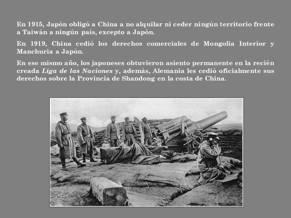 En 1915, Japón obligó a China a no alquilar ni ceder ningún territorio frente a Taiwán a ningún país, excepto a Japón.