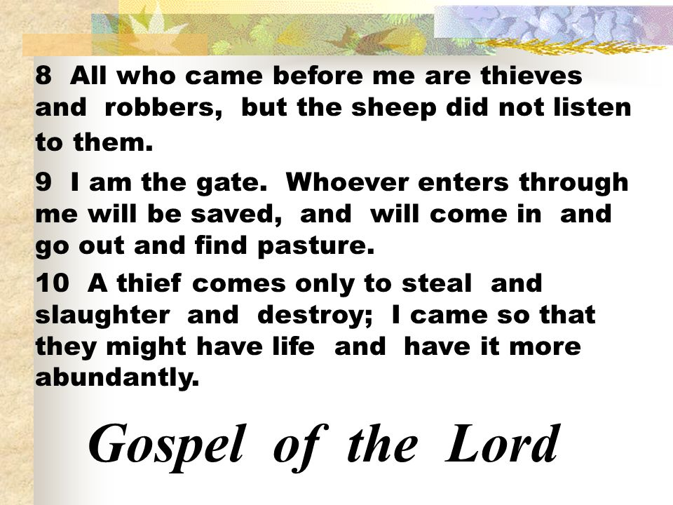 8 All who came before me are thieves and robbers, but the sheep did not listen to them.