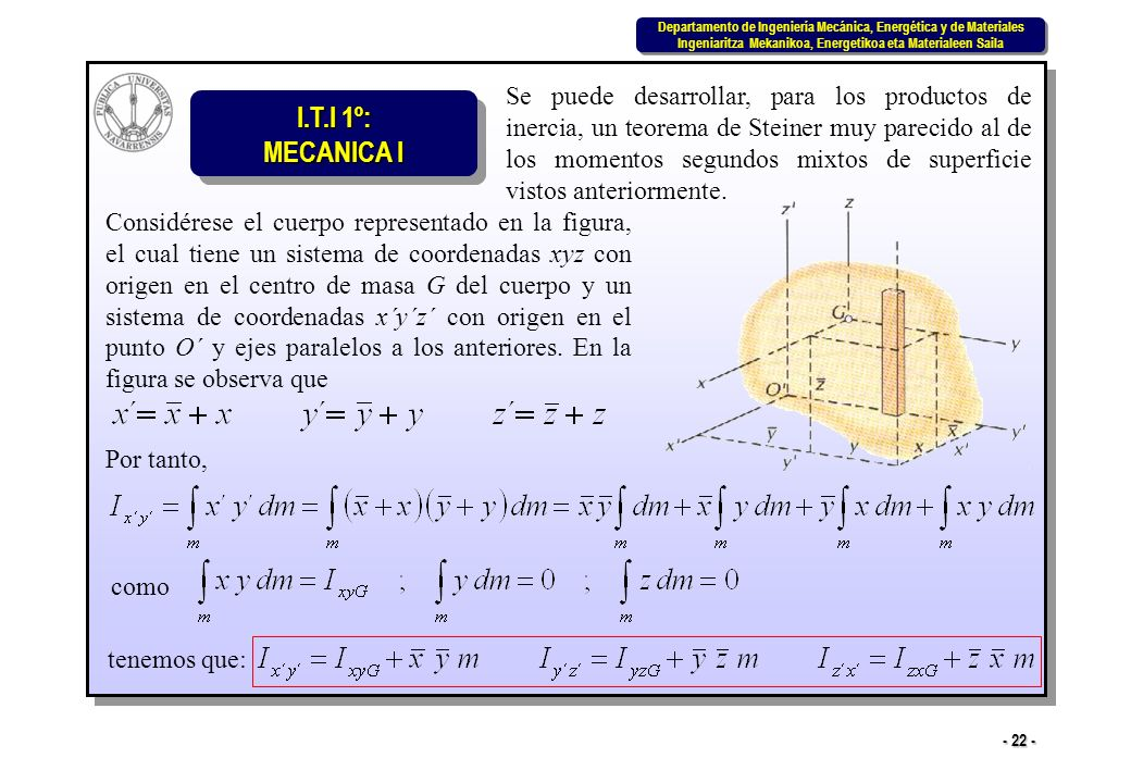 Se puede desarrollar, para los productos de inercia, un teorema de Steiner muy parecido al de los momentos segundos mixtos de superficie vistos anteriormente.