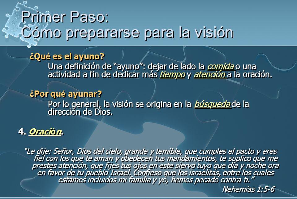 Primer Paso: Cómo prepararse para la visión