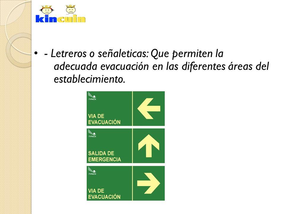 - Letreros o señaleticas: Que permiten la