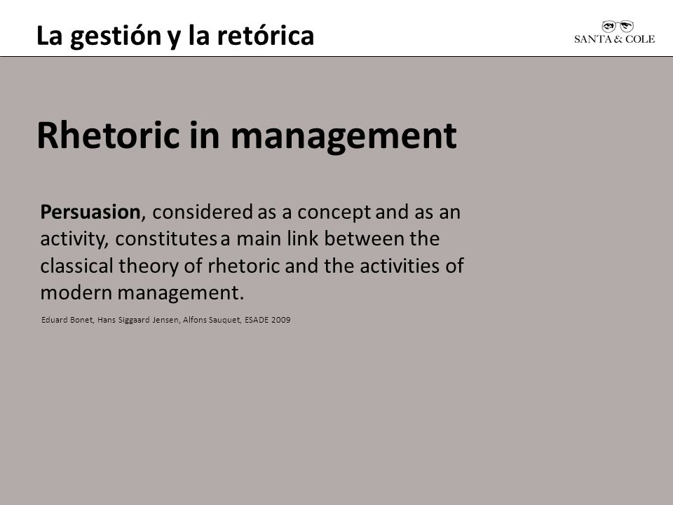 Rhetoric in management