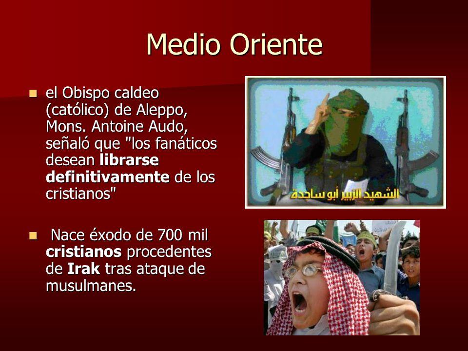 Medio Oriente el Obispo caldeo (católico) de Aleppo, Mons. Antoine Audo, señaló que los fanáticos desean librarse definitivamente de los cristianos