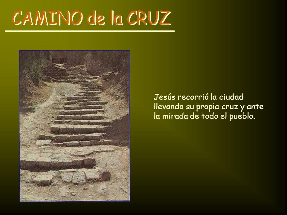 CAMINO de la CRUZ Jesús recorrió la ciudad llevando su propia cruz y ante la mirada de todo el pueblo.