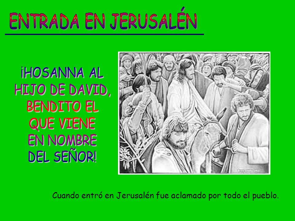 ENTRADA EN JERUSALÉN ¡HOSANNA AL HIJO DE DAVID, BENDITO EL QUE VIENE