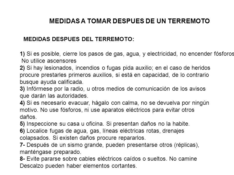 MEDIDAS A TOMAR DESPUES DE UN TERREMOTO