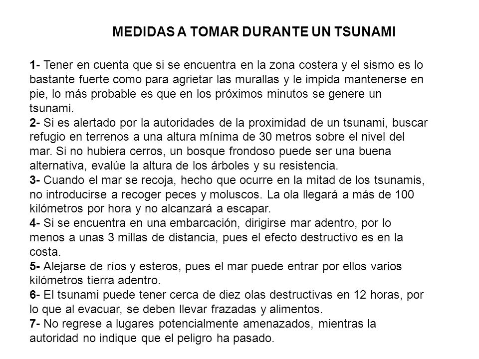 MEDIDAS A TOMAR DURANTE UN TSUNAMI