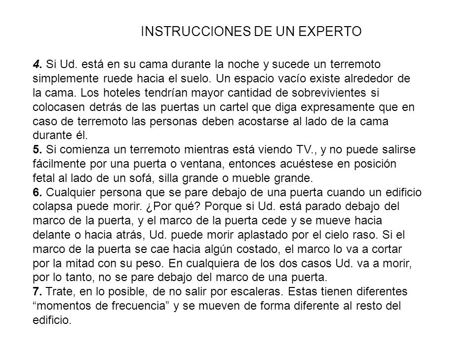 INSTRUCCIONES DE UN EXPERTO