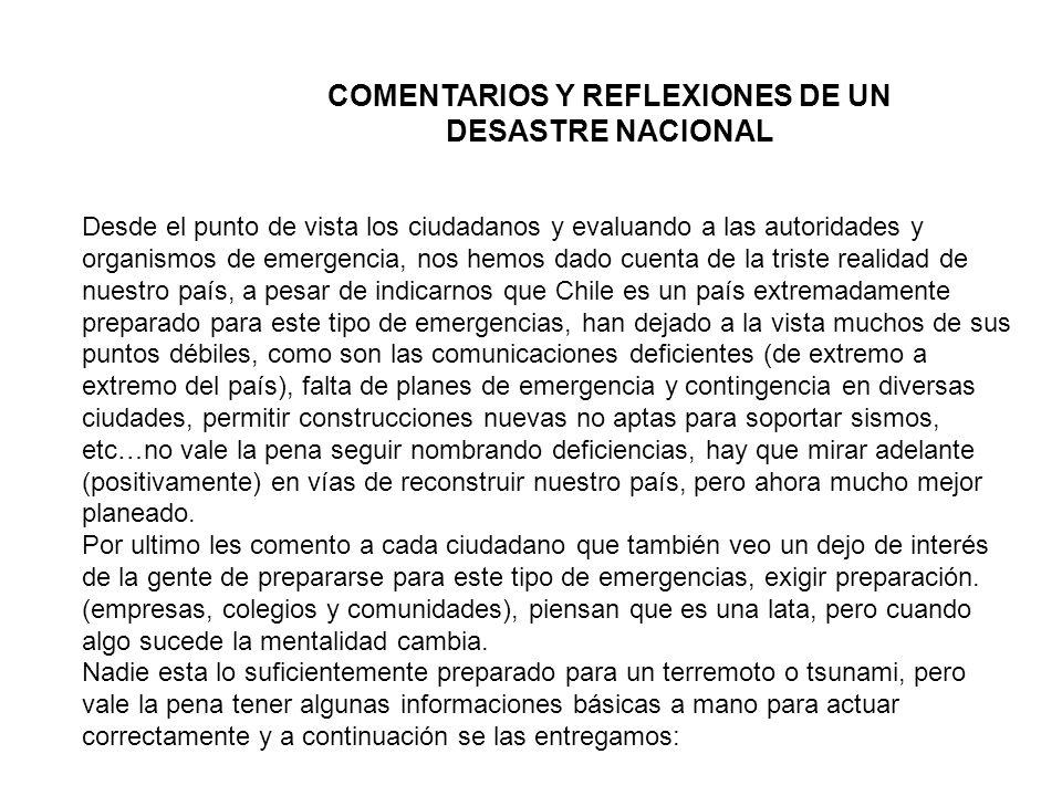 COMENTARIOS Y REFLEXIONES DE UN DESASTRE NACIONAL