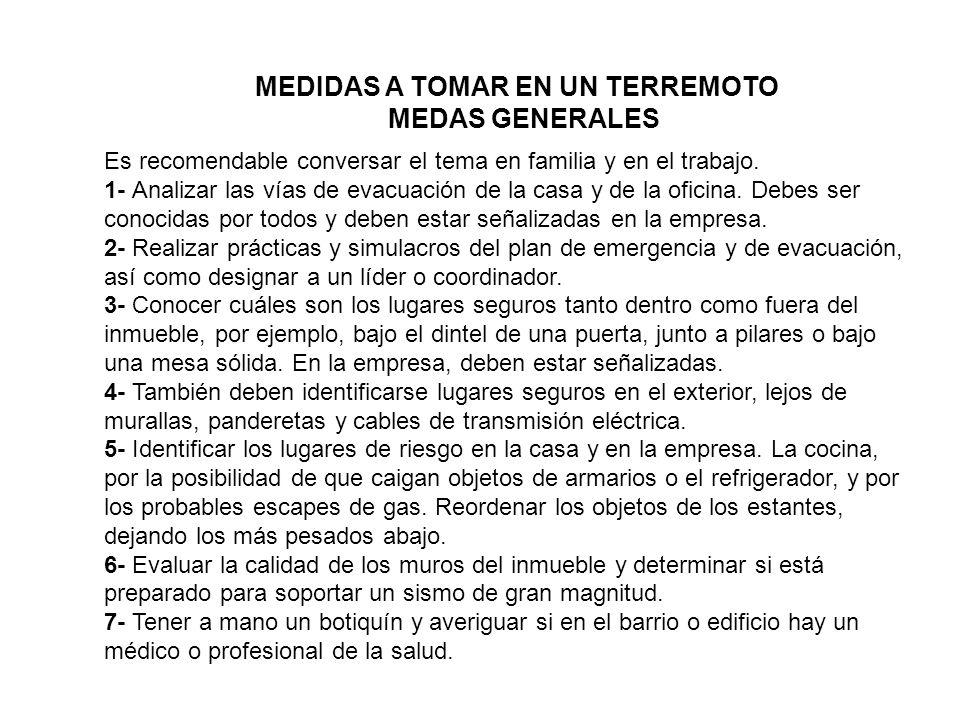 MEDIDAS A TOMAR EN UN TERREMOTO MEDAS GENERALES