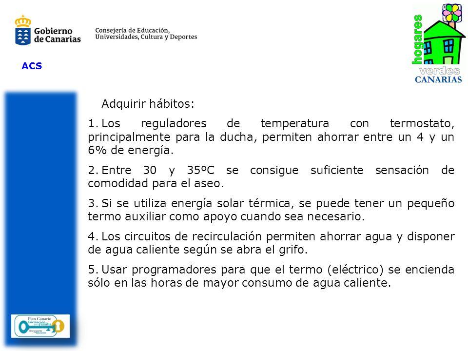 ACS Adquirir hábitos: Los reguladores de temperatura con termostato, principalmente para la ducha, permiten ahorrar entre un 4 y un 6% de energía.