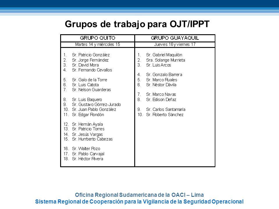 Grupos de trabajo para OJT/IPPT