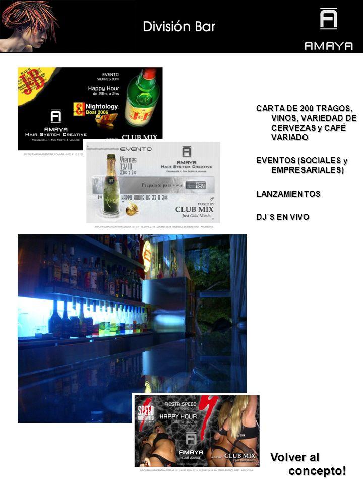 CARTA DE 200 TRAGOS, VINOS, VARIEDAD DE CERVEZAS y CAFÉ VARIADO