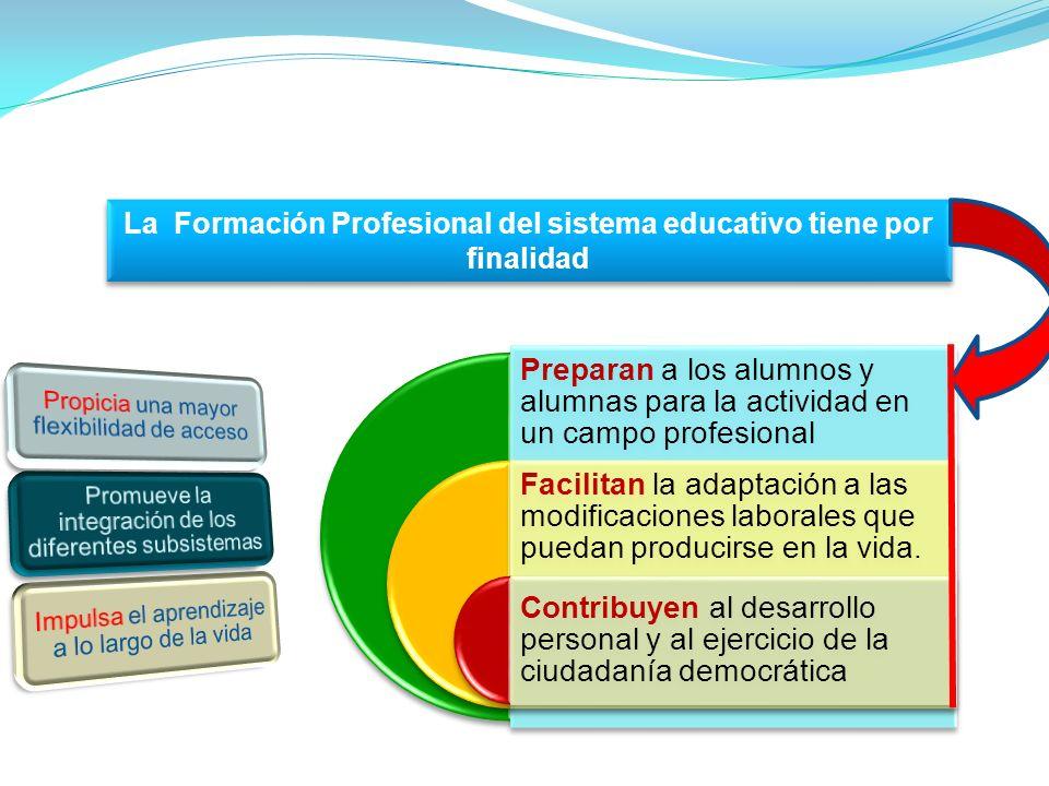 La Formación Profesional del sistema educativo tiene por finalidad