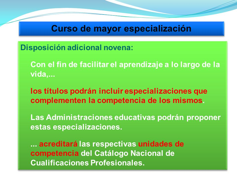 Curso de mayor especialización
