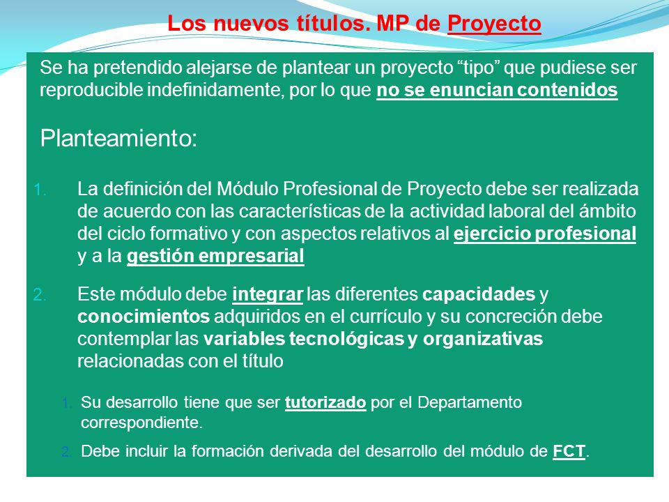 Los nuevos títulos. MP de Proyecto