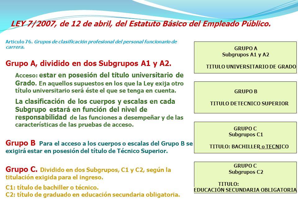 LEY 7/2007, de 12 de abril, del Estatuto Básico del Empleado Público.