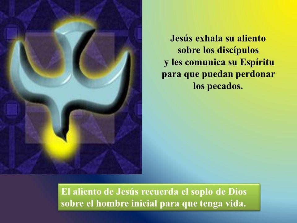 Jesús exhala su aliento sobre los discípulos