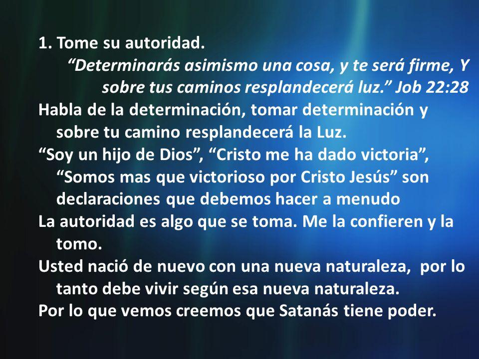 1. Tome su autoridad. Determinarás asimismo una cosa, y te será firme, Y sobre tus caminos resplandecerá luz. Job 22:28.