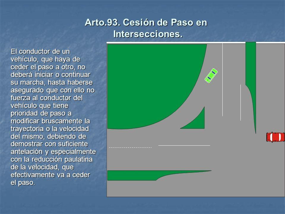 Arto.93. Cesión de Paso en Intersecciones.