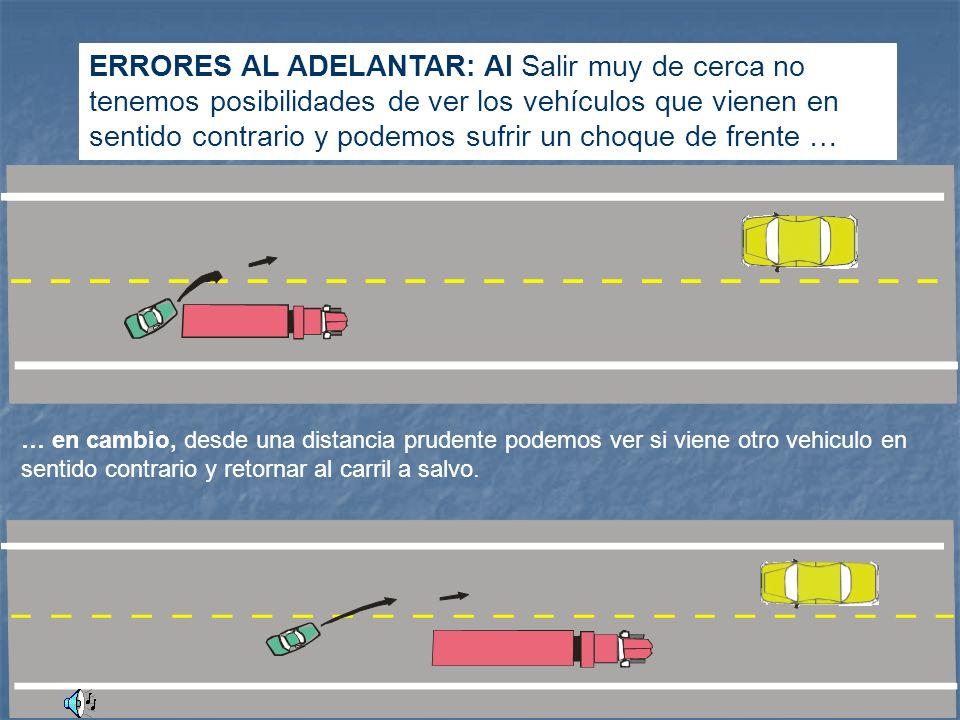 ERRORES AL ADELANTAR: Al Salir muy de cerca no tenemos posibilidades de ver los vehículos que vienen en sentido contrario y podemos sufrir un choque de frente …