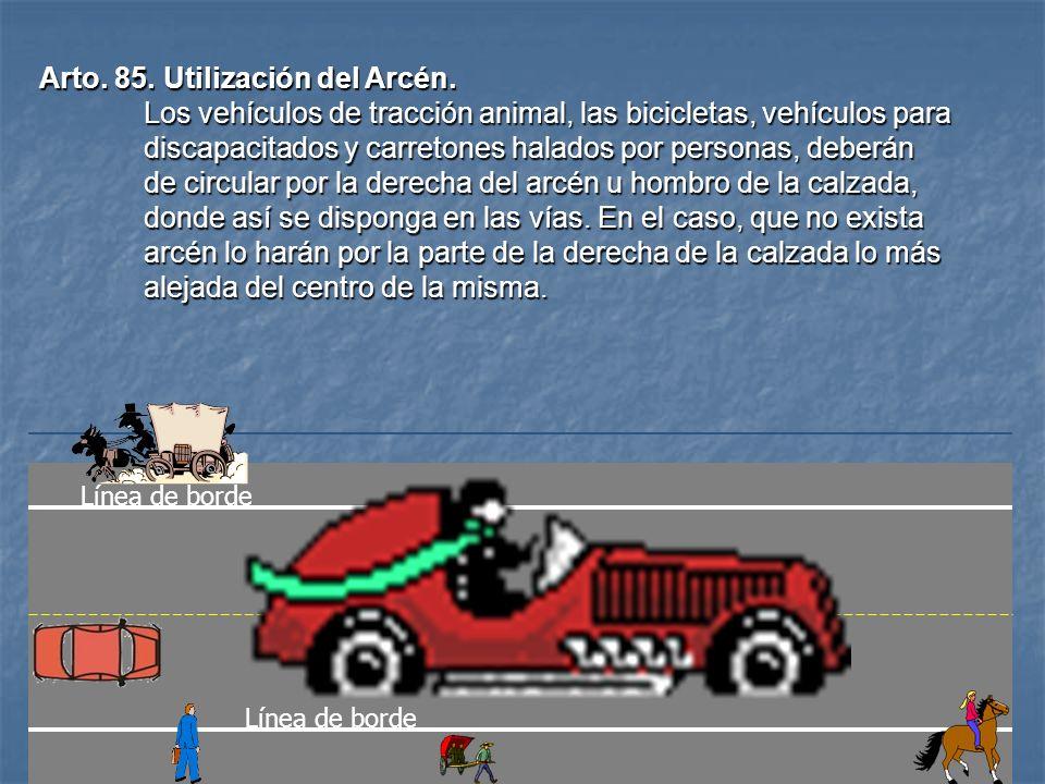 Arto. 85. Utilización del Arcén.
