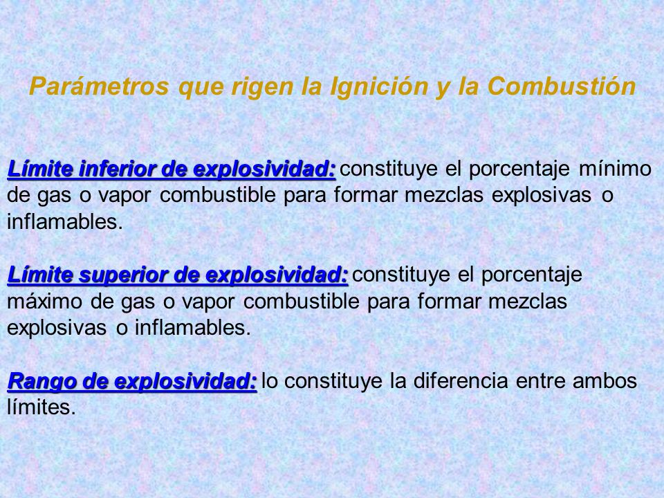Parámetros que rigen la Ignición y la Combustión