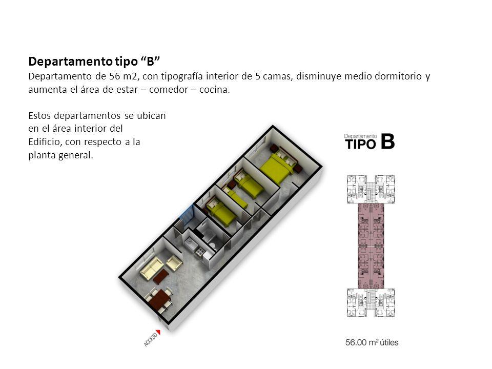 Departamento tipo B Departamento de 56 m2, con tipografía interior de 5 camas, disminuye medio dormitorio y aumenta el área de estar – comedor – cocina.