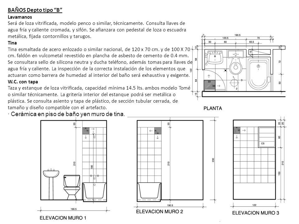 · Cerámica en piso de baño yen muro de tina.