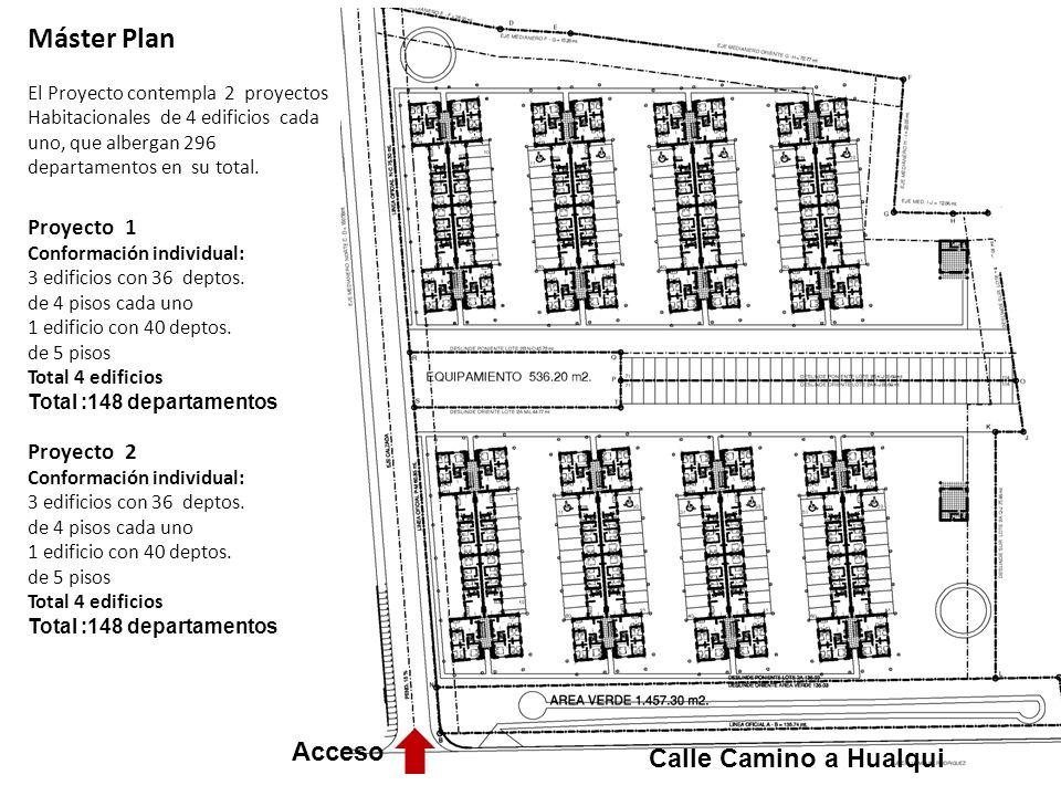 Máster Plan El Proyecto contempla 2 proyectos Habitacionales de 4 edificios cada uno, que albergan 296 departamentos en su total.