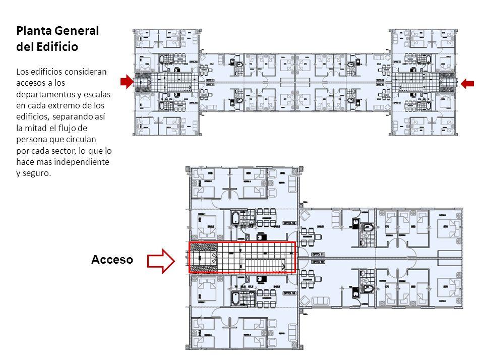Planta General del Edificio Los edificios consideran accesos a los departamentos y escalas en cada extremo de los edificios, separando así la mitad el flujo de persona que circulan por cada sector, lo que lo hace mas independiente y seguro.