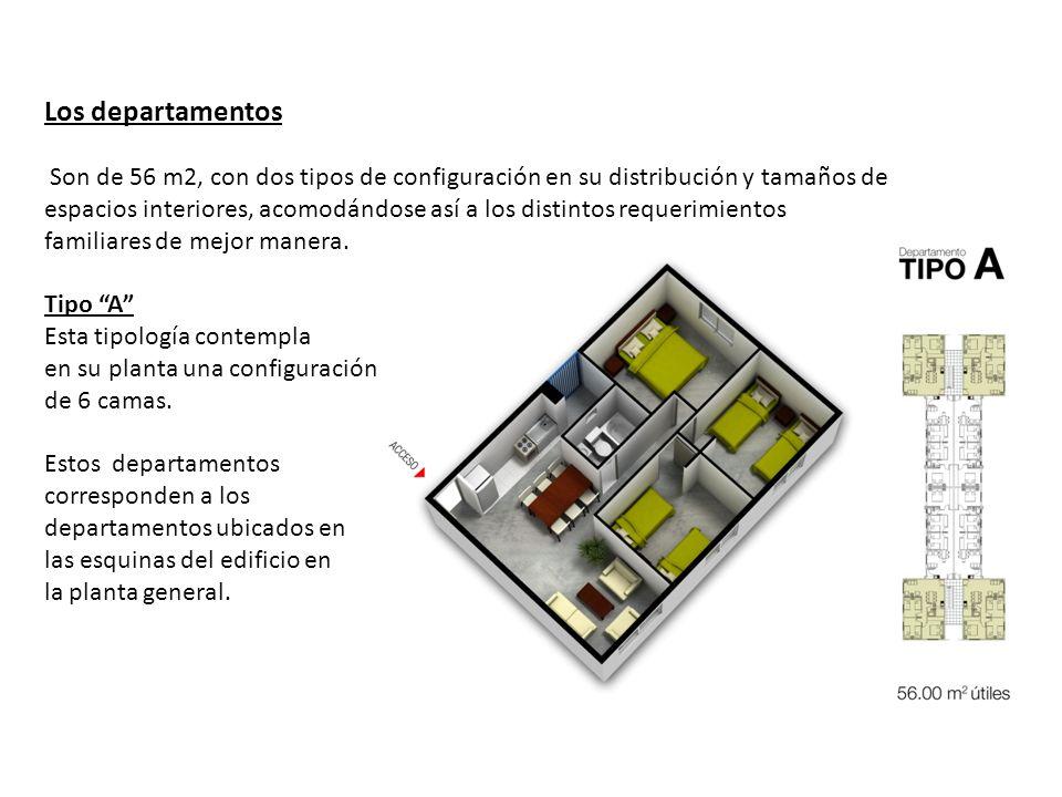 Los departamentos Son de 56 m2, con dos tipos de configuración en su distribución y tamaños de espacios interiores, acomodándose así a los distintos requerimientos familiares de mejor manera.